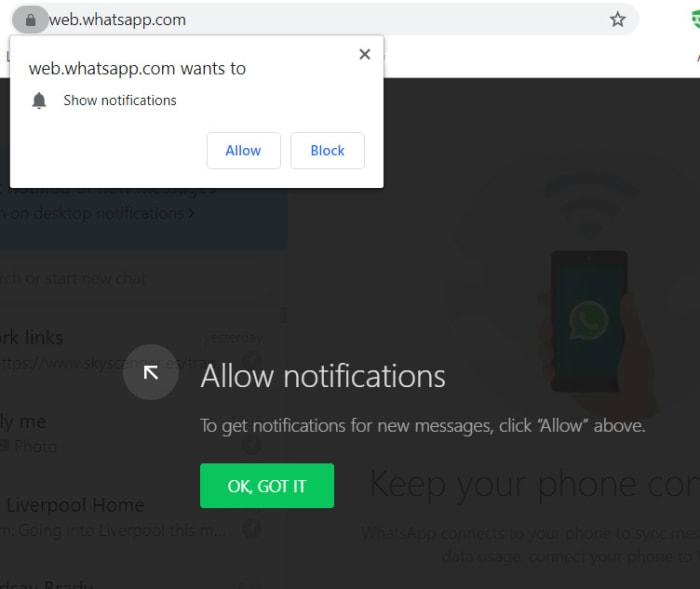 WhatsApp Web notifications