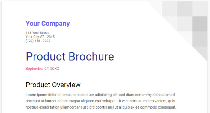 brochure template on Google Docs