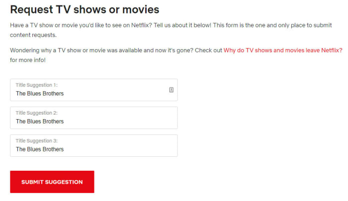 Request a new title on Netflix