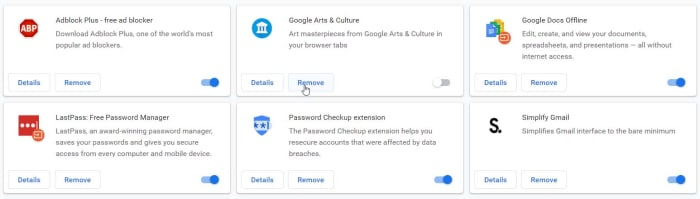 Delete unused extensions on Chrome