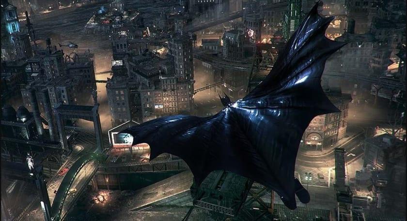 Batman sobrevolando Gotham en Arkham Knight