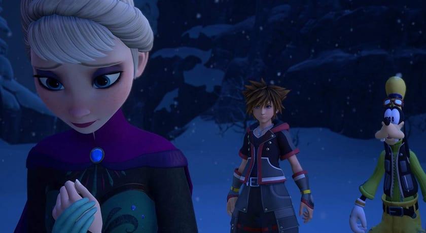 Elsa y Sora en el mundo de Frozen