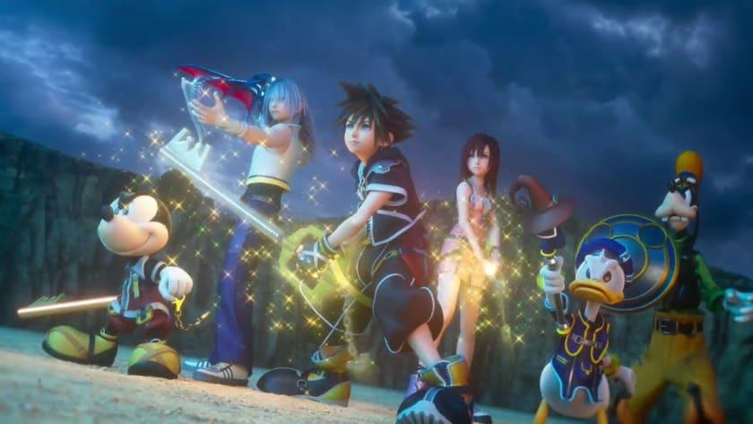 Sora y sus compañeros en Kingdom Hearts 3