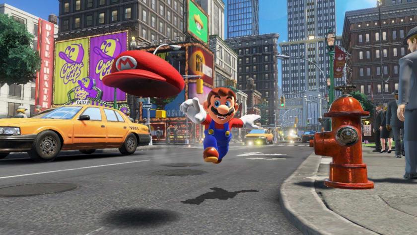 Mario y Cappy en el mundo abierto de Mario Odyssey