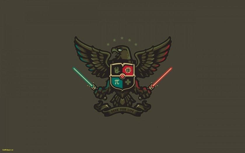 Fondo de pantalla geek con escudo de armas