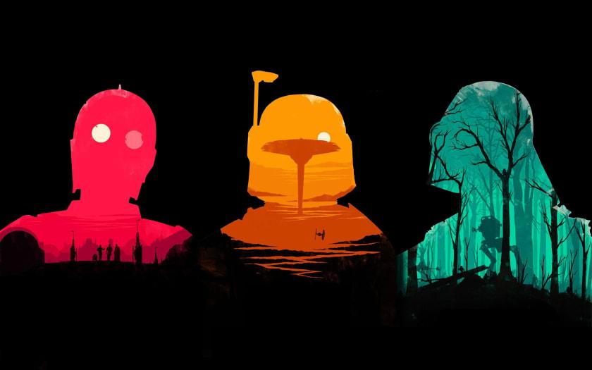 Fondo de pantalla geek con siluetas de Star Wars