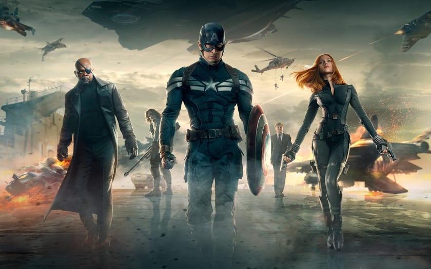 Fondo de escritorio Capitán América, Viuda Negra y Nick Furia