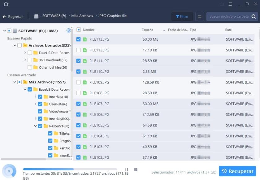 Interfaz de EasyUS Data Recovery Wizard Free