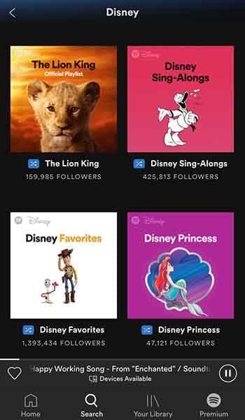 Disney Spotify hub