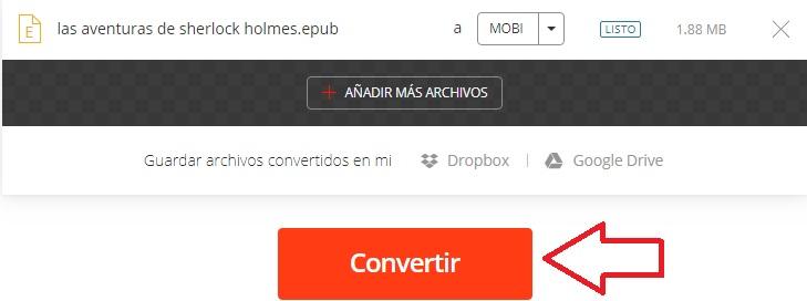 Cómo convertir un archivo EPUB a MOBI
