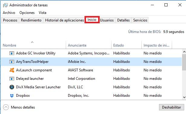 Cómo quitar programas de inicio de Windows 10