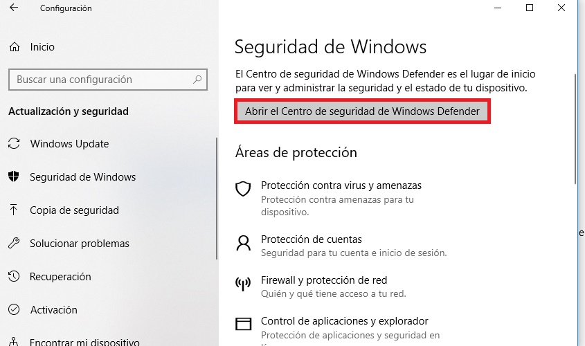 Windows 10: Cómo desactivar Windows Defender
