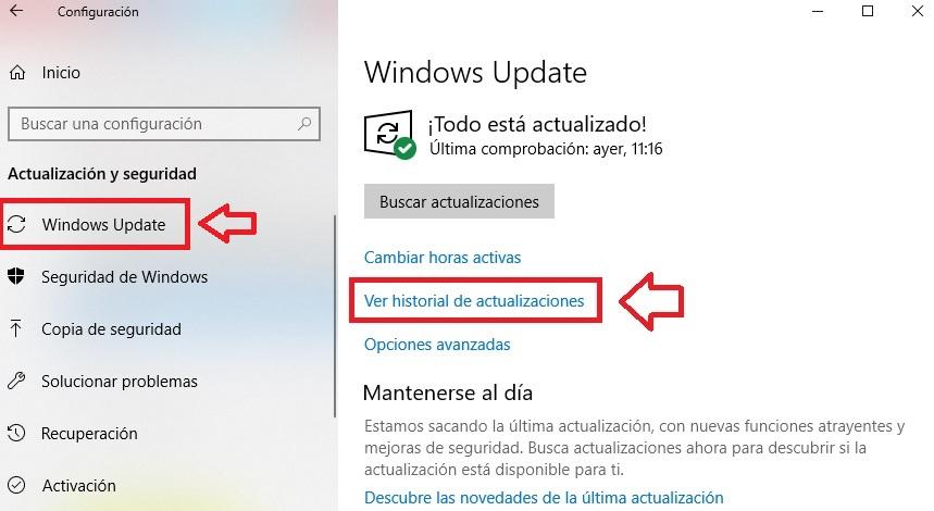 Cómo quitar actualizaciones en Windows 10