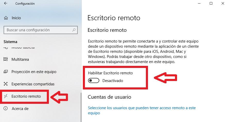 Cómo utilizar la función Escritorio Remoto: Windows 10
