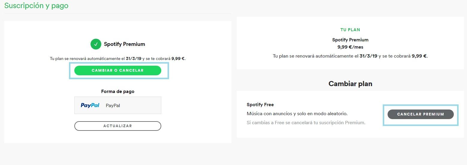 Cómo darse de baja de Spotify Premium