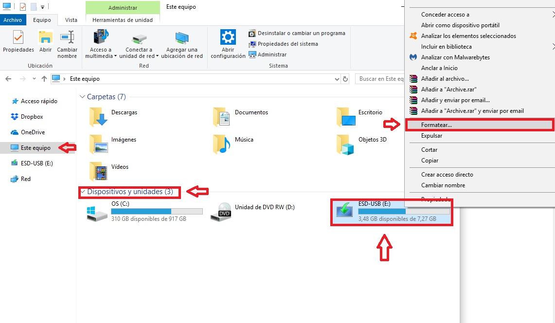 Cómo formatear un pendrive USB