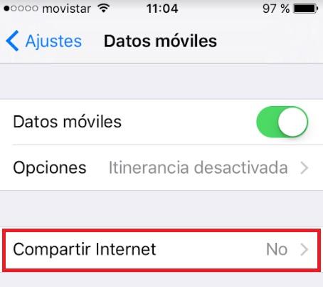 Cómo compartir datos desde un iPhone