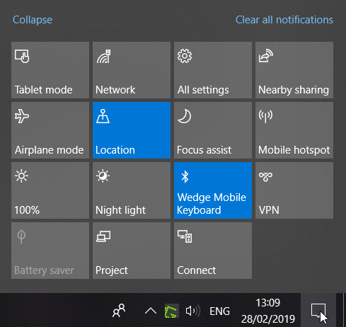 The Windows 10 Action Panel