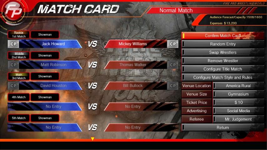Fire Pro Wrestling Match Card