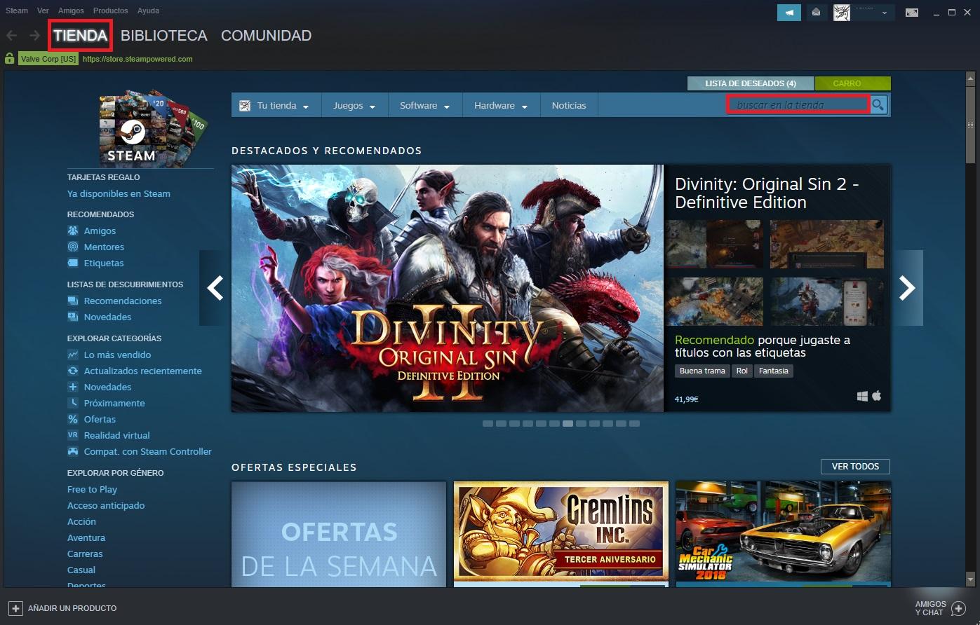Cómo buscar un juego en Steam