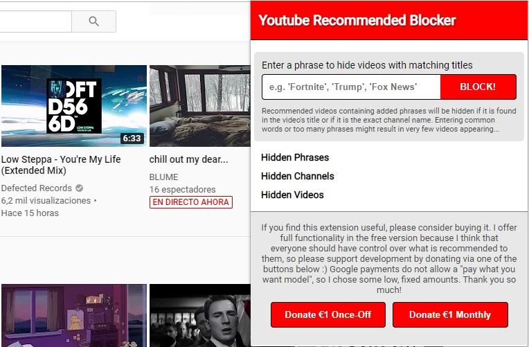 cómo bloquear las recomendaciones de Youtube.