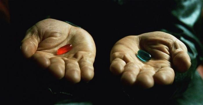 red pill blue pill matrix facts