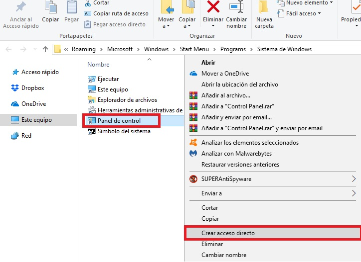 6 formas de abrir el Panel de Control de Windows 10