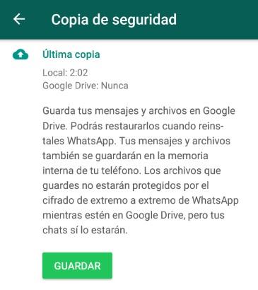 Cómo crear una copia de seguridad en WhatsApp