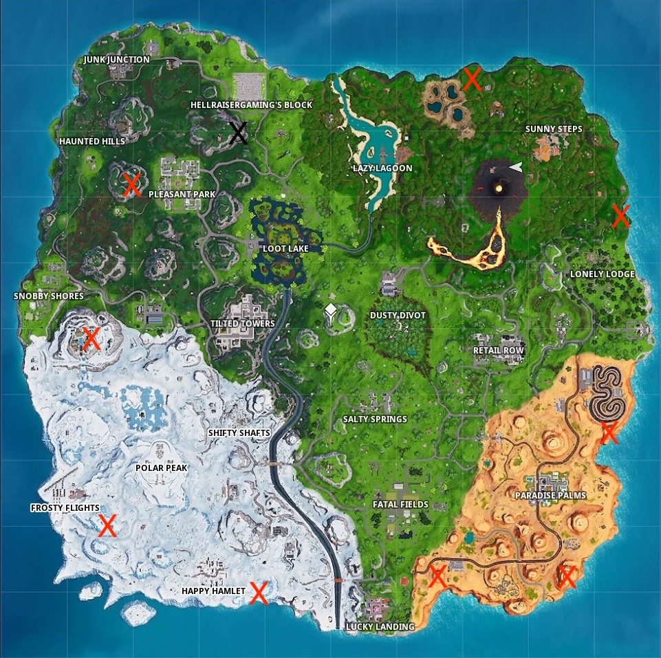 fortnite season 8 helicopter locations map