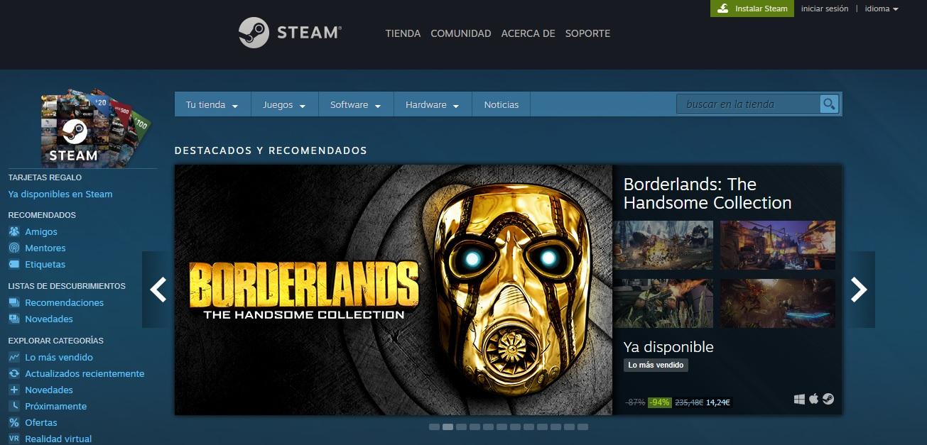 Página principal de Steam