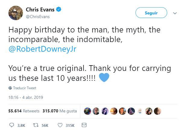 Celebran Vengadores cumpleaños de Robert Downey Jr