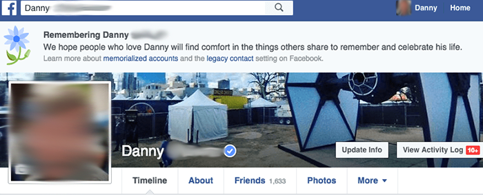 Memorialized Facebook page