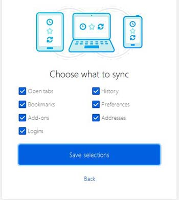 Choose what to sync