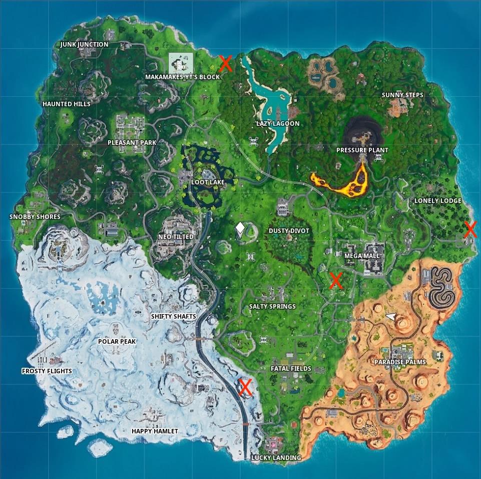 fortnite season 9 week 2 challenge map