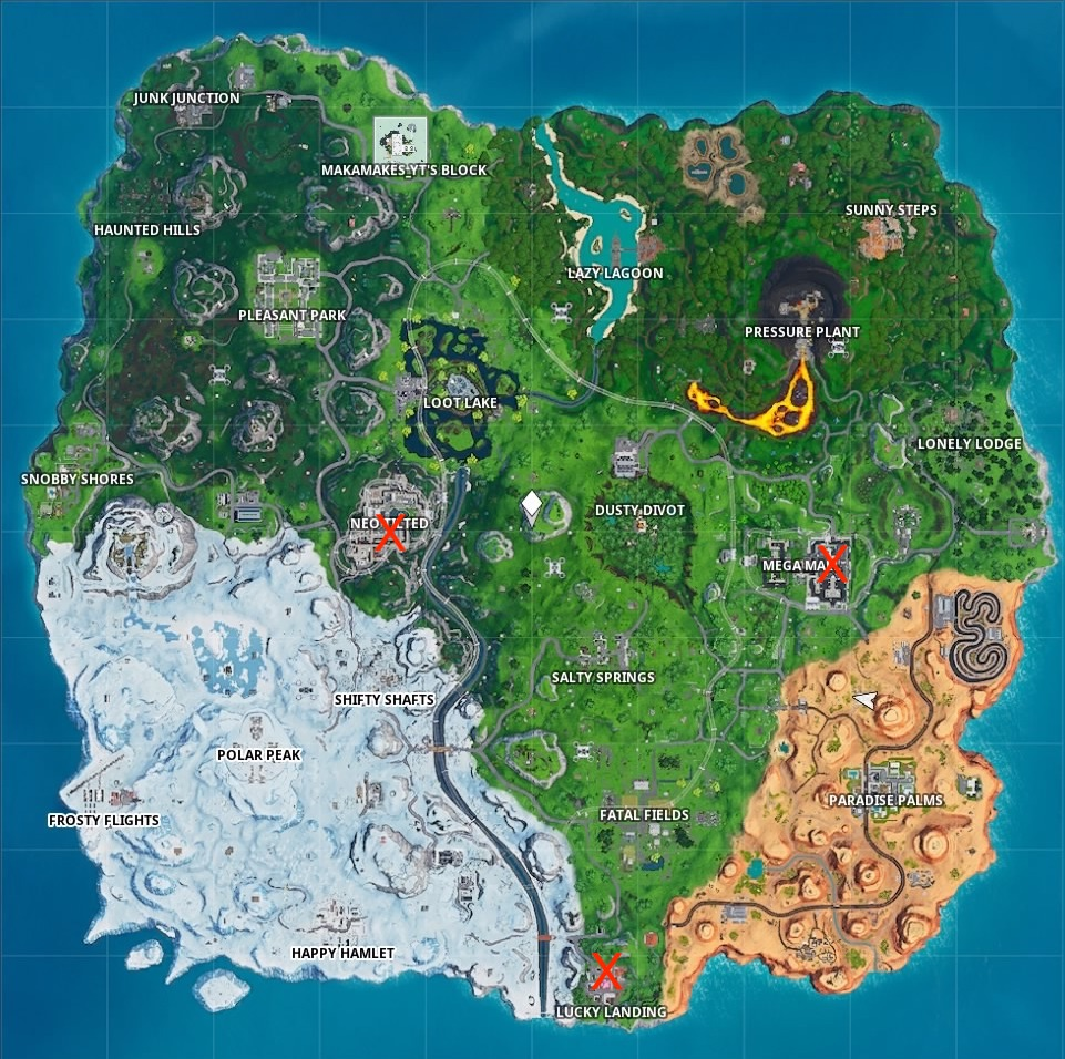fortnite season 9 week 4 challenges map