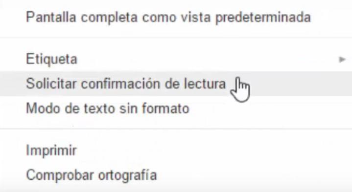 Opción de confirmación de lectura de Gmail