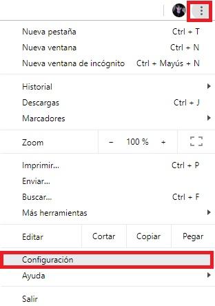 Configuración de Google Chrome