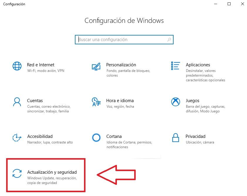 Actualización y seguridad de Windows 10