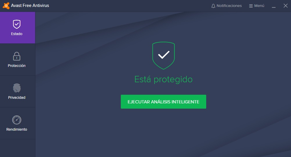 Interfaz de Avast