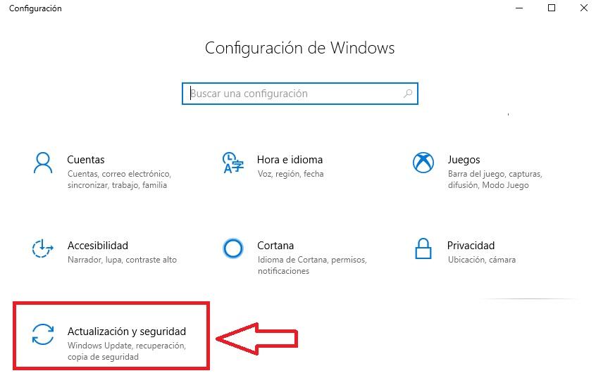 Actualización y seguridad para Windows 10