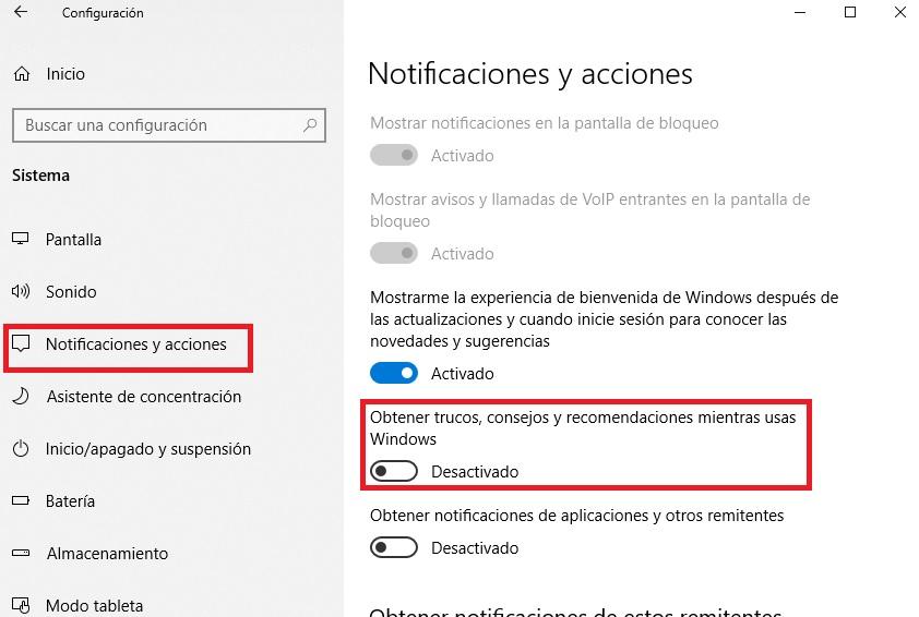 Desactivar los trucos y consejos de Windows 10
