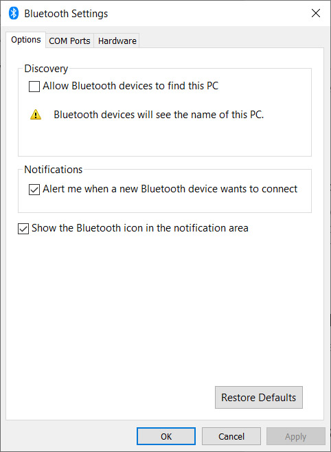 more bluetooth settings on Windows 10