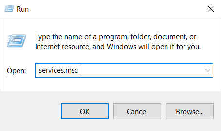 run services.msc on Windows 10