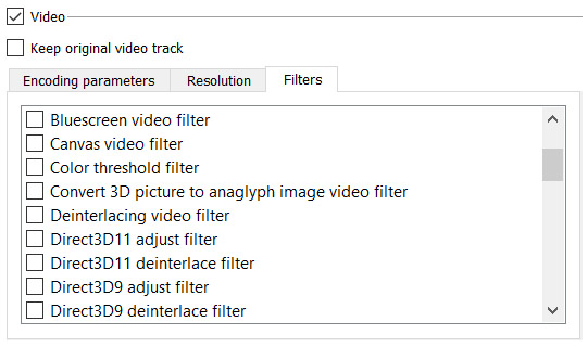 VLC video conversion filters
