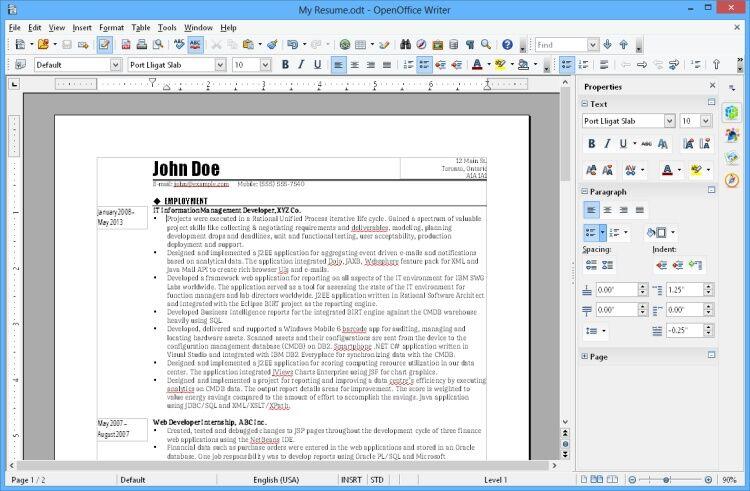 Interfaz de OpenOffice
