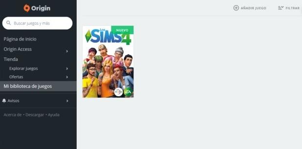 Los Sims 4 menu origin