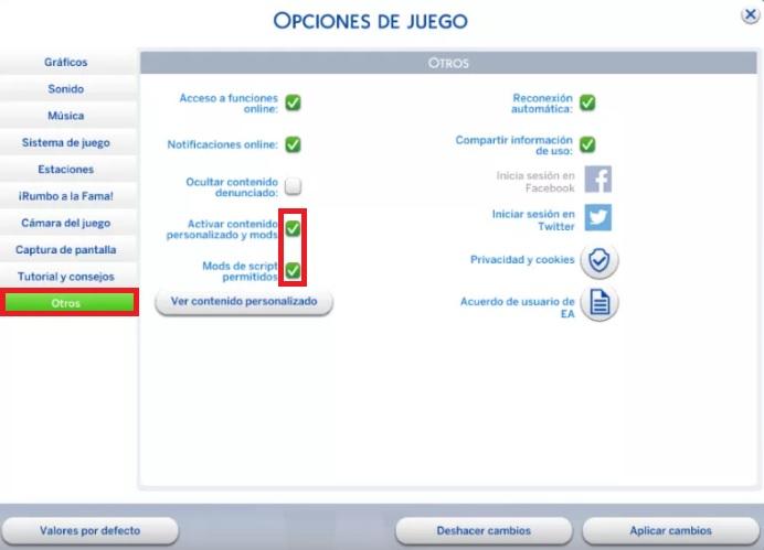 Cómo activar mods en Los Sims 4