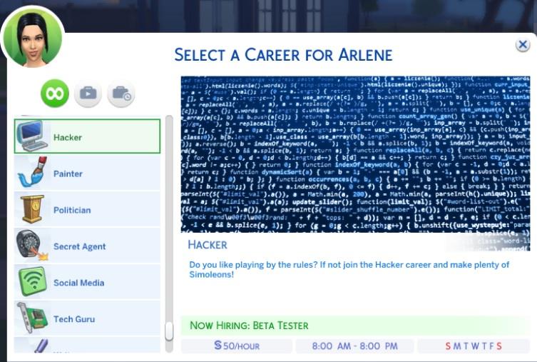 Mod de carrera de Hacker para Los Sims 4