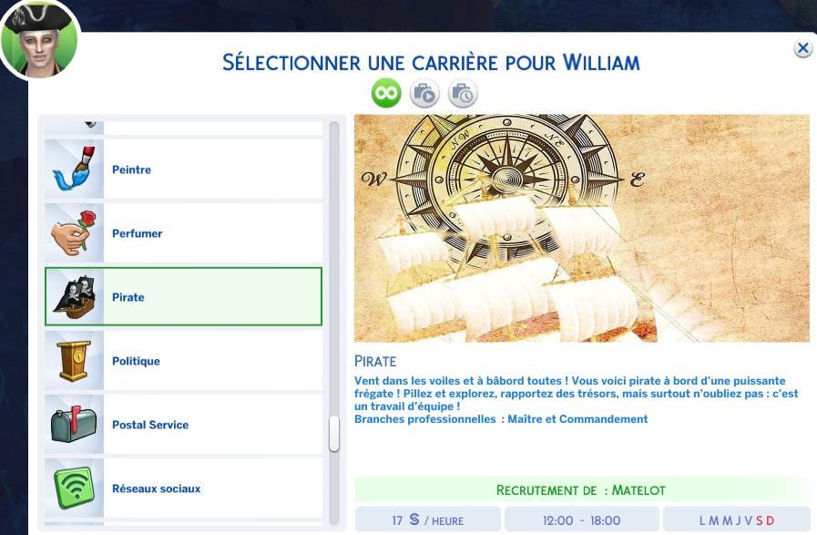 Mod de carrera pirata para Los Sims 4