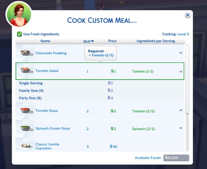 Mod Custom Food Interactions para Los Sims 4